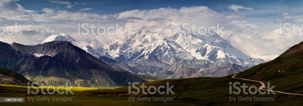 Mt Denali and the Alaska Range Panoramic stock photo