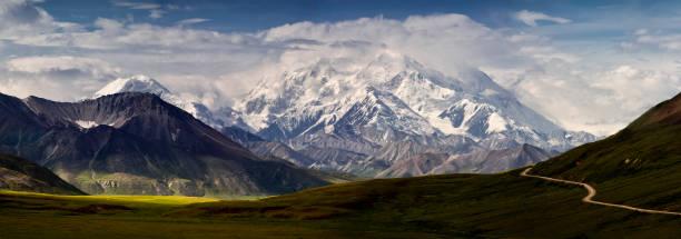 mt denali and the alaska range panoramic - denali national park bildbanksfoton och bilder
