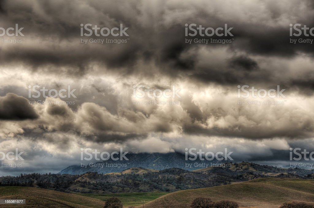 Mt. Diablo Surrounded By Storm Clouds (HDR) stock photo