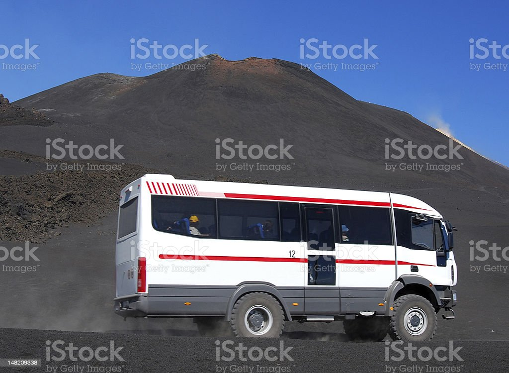 Mt Etna touristic bus to Bocca Nova crater royalty-free stock photo
