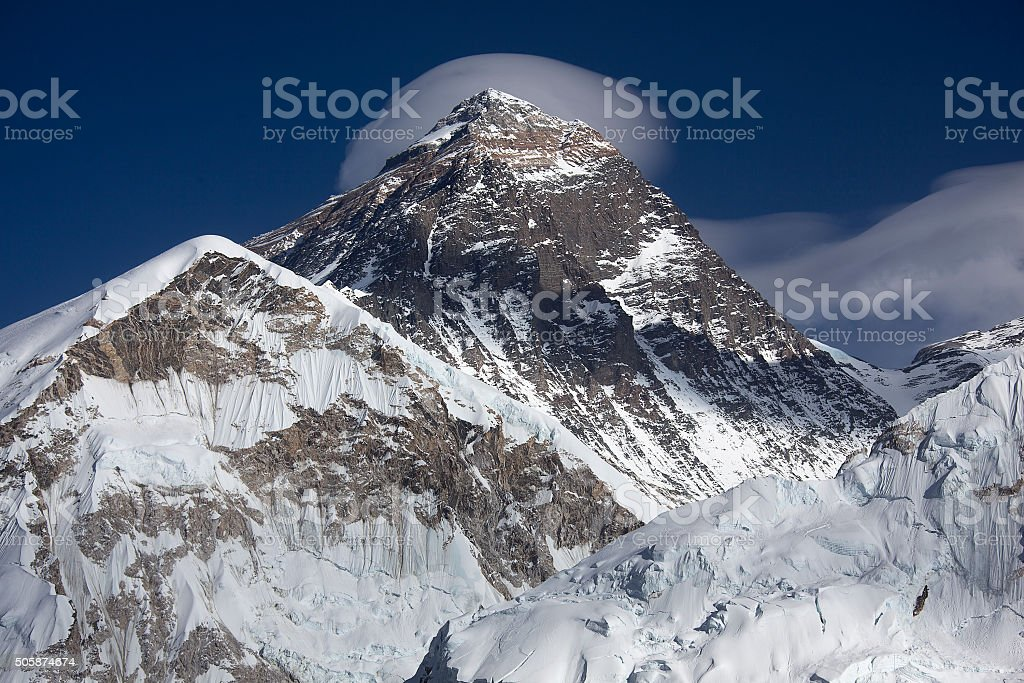Mt. Everest and cloudscape stock photo