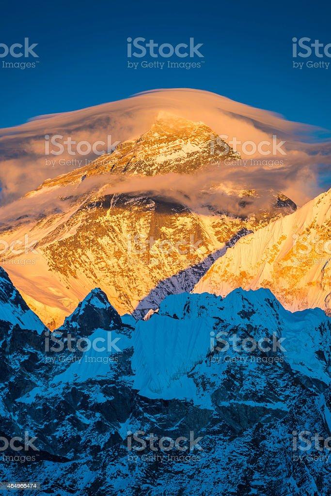 Mt Everest golden summit sunset lenticular cloudscape mountain Himalayas Nepal stock photo