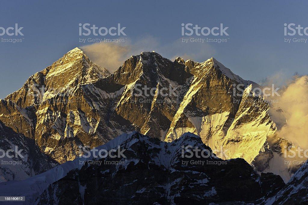 Mt Everest golden sunset Himalayas Nepal stock photo
