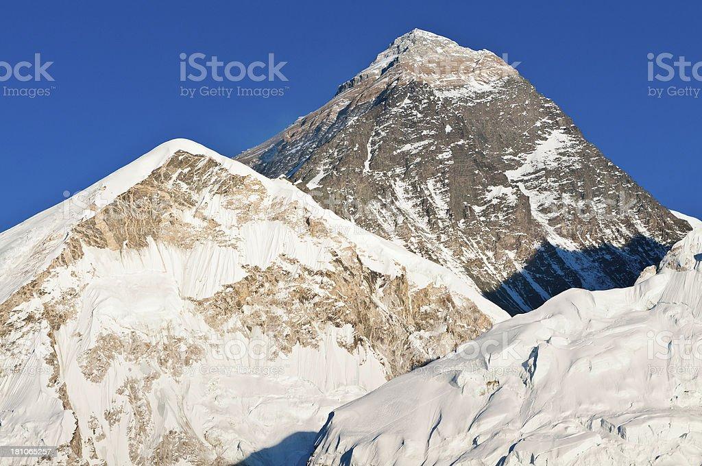 Mt Everest iconic summit snow mountain peaks Himalayas Nepal royalty-free stock photo