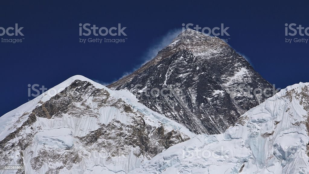 Mt Everest in spring time stock photo