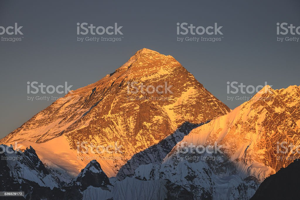 Mt Everest setting sun stock photo