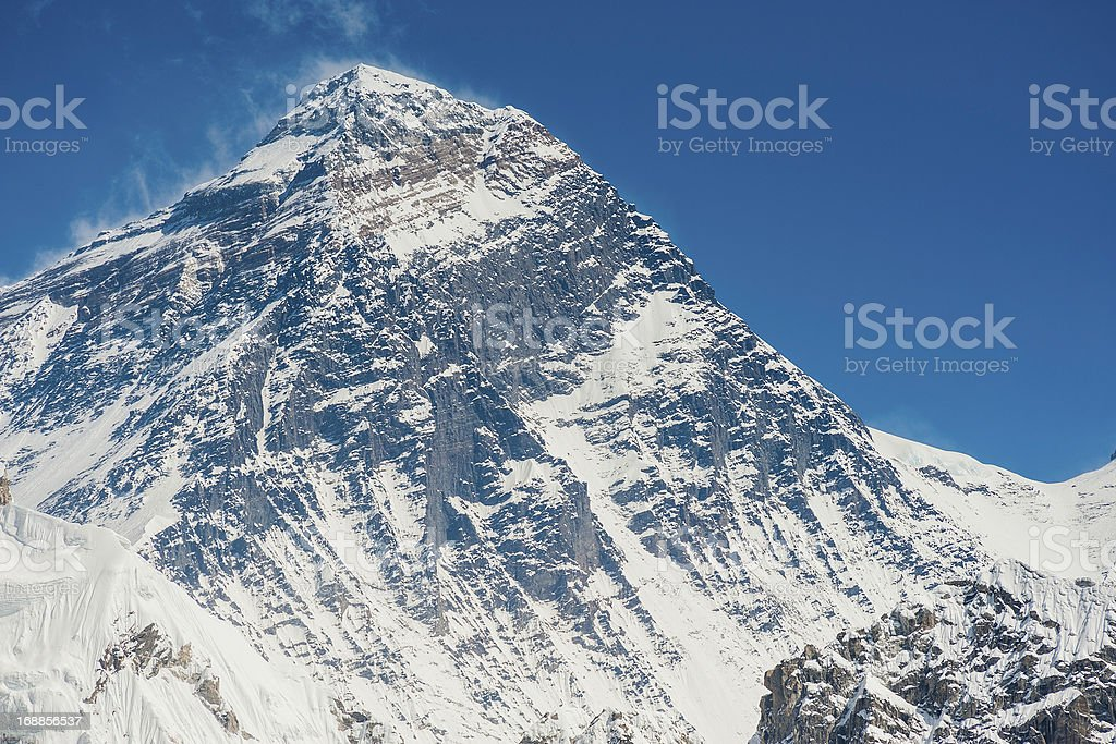 Mt Everest summit and South Col Himalayas Nepal royalty-free stock photo