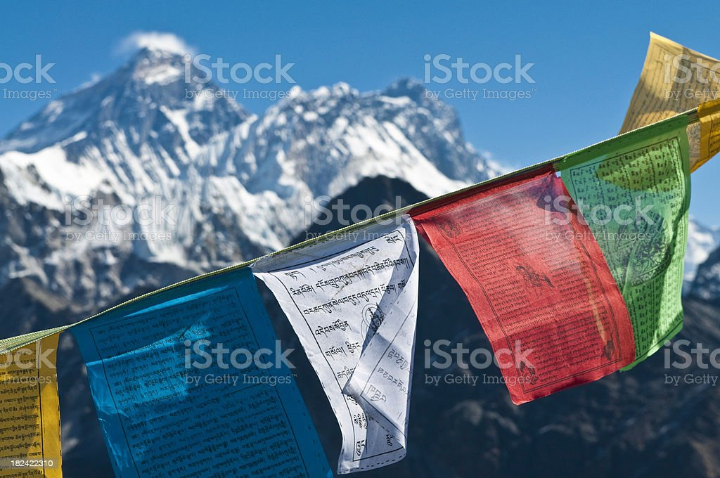 Mt Everest summit colorful buddhist prayer flags Himalayas Khumbu Nepal stock photo