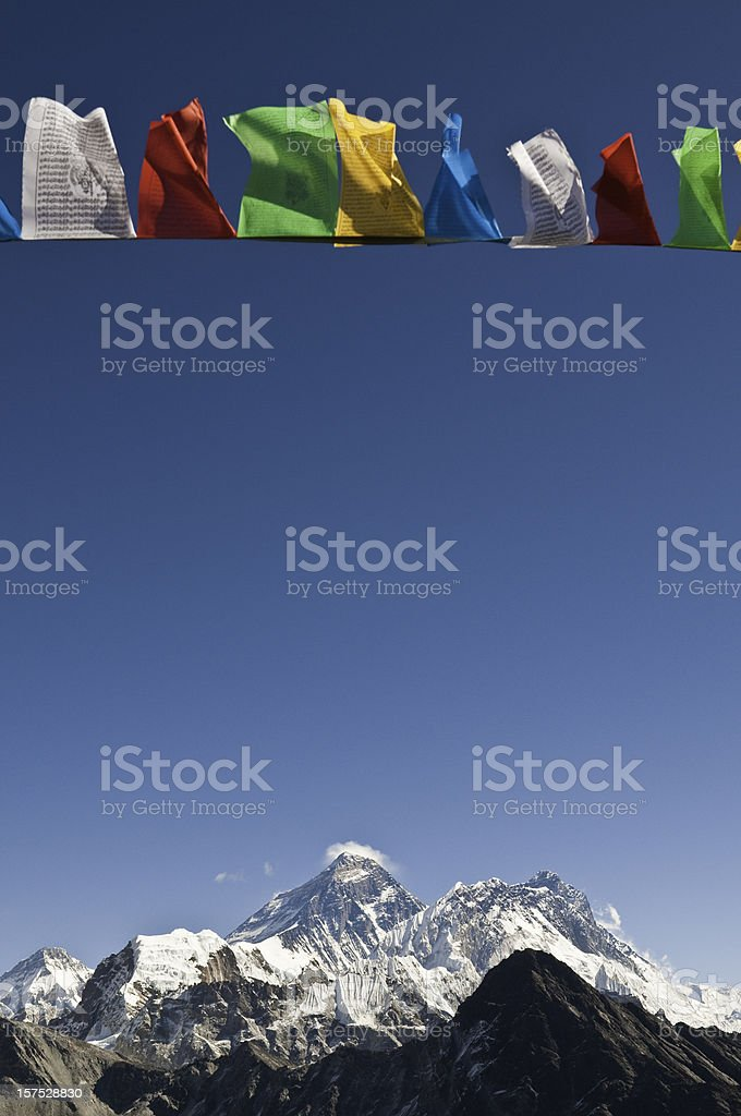 Mt Everest summit colorful prayer flags Nuptse Lhotse Himalaya Nepal stock photo