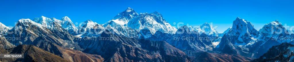 Mt Everest summit towering over Himalaya mountain peaks panorama Nepal stock photo