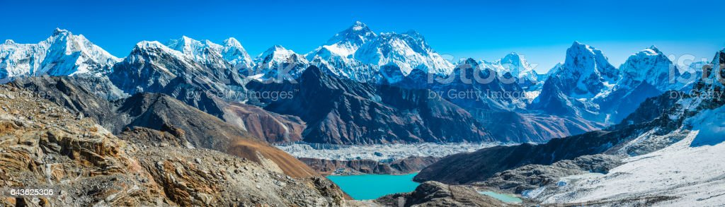 Mt Everest towering over Himalaya mountain range panorama Nepal stock photo