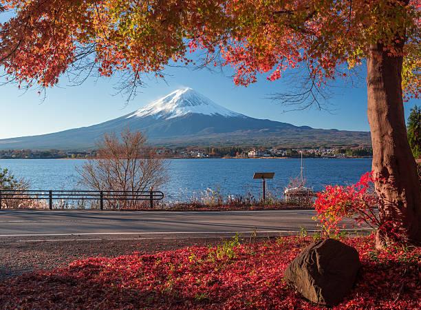 Mt. Fuji und Herbst Laub im Lake Kawaguchi. – Foto