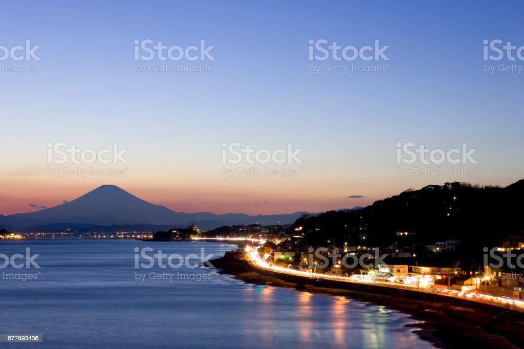 Mt. Fuji and Enoshima stock photo