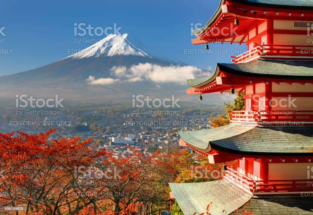 Mt. Fuji and Pagoda stock photo