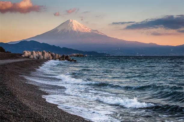 Mt. Fuji and sea beach stock photo