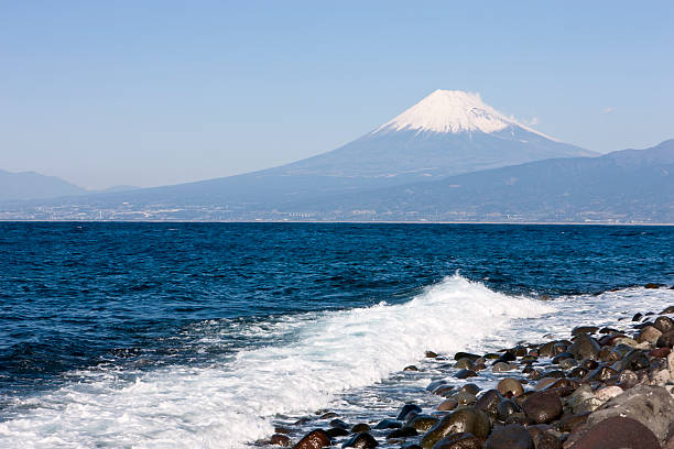 Mt. Fuji and the ocean stock photo