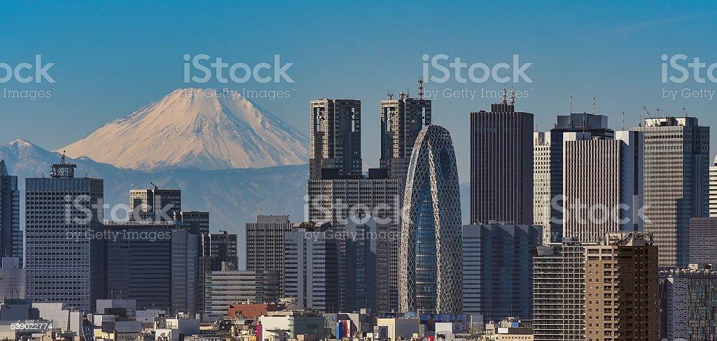 Mt. Fuji and Tokyo, shinjyuku Skyscrapers stock photo