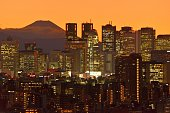 istock Mt Fuji and Tokyo Skyline : Day and Night 1205058453