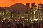 istock Mt Fuji and Tokyo Skyline : Day and Night 1205058717