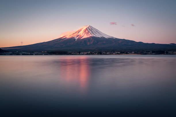 Mt. Fuji at dawn Sunrise - Dawn, Volcano, Reflection,Mt. Fuji,,Japan lake kawaguchi stock pictures, royalty-free photos & images
