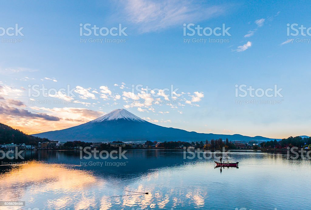 Mt. Fuji at Lake Kawaguchi - Japan stock photo