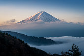 Mt. Fuji enshrouded in clouds with clear sky