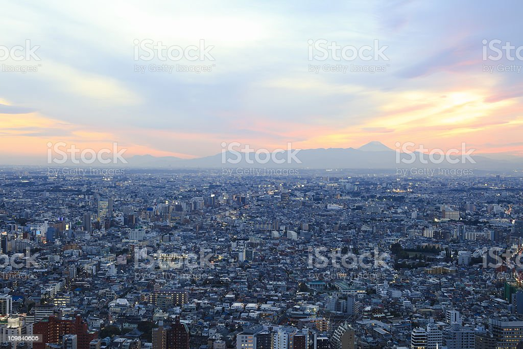 Mt Fuji from Tokyo stock photo