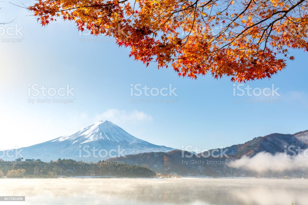 Mt. Fuji in autumn Japan stock photo