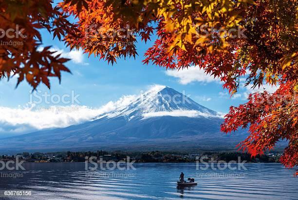 Photo of Mt Fuji in autumn view from lake Kawaguchiko