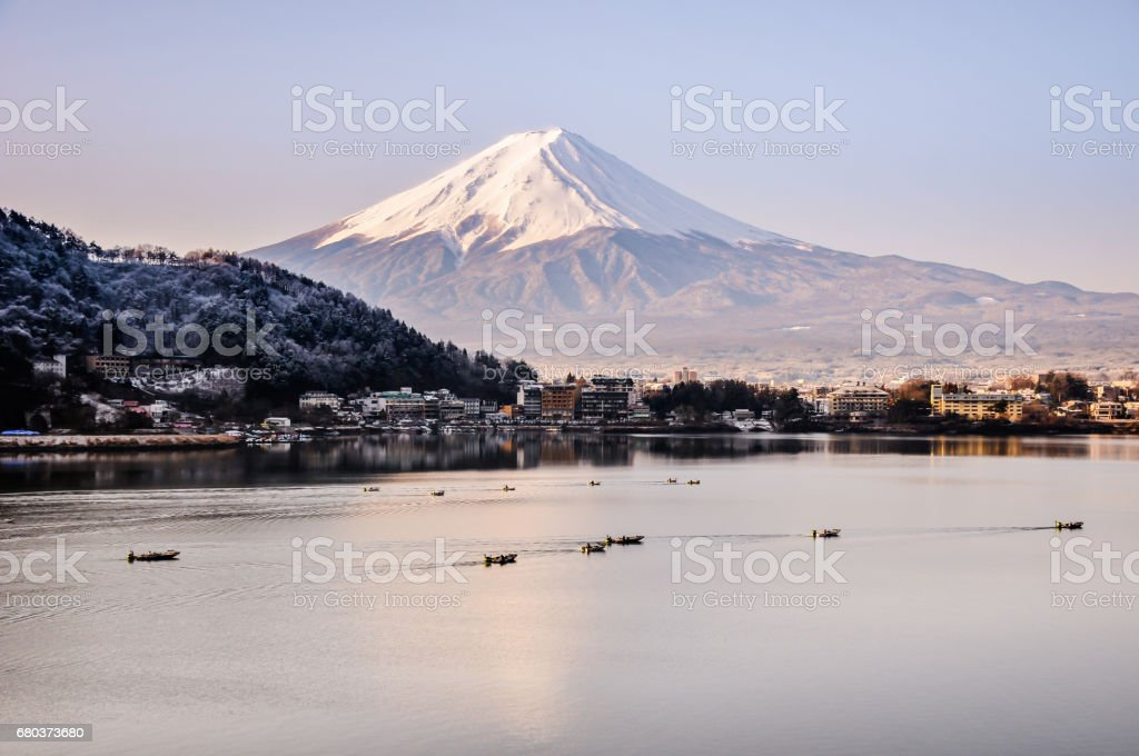 Mt Fuji in the early morning with reflection on the lake kawaguchiko royalty-free stock photo
