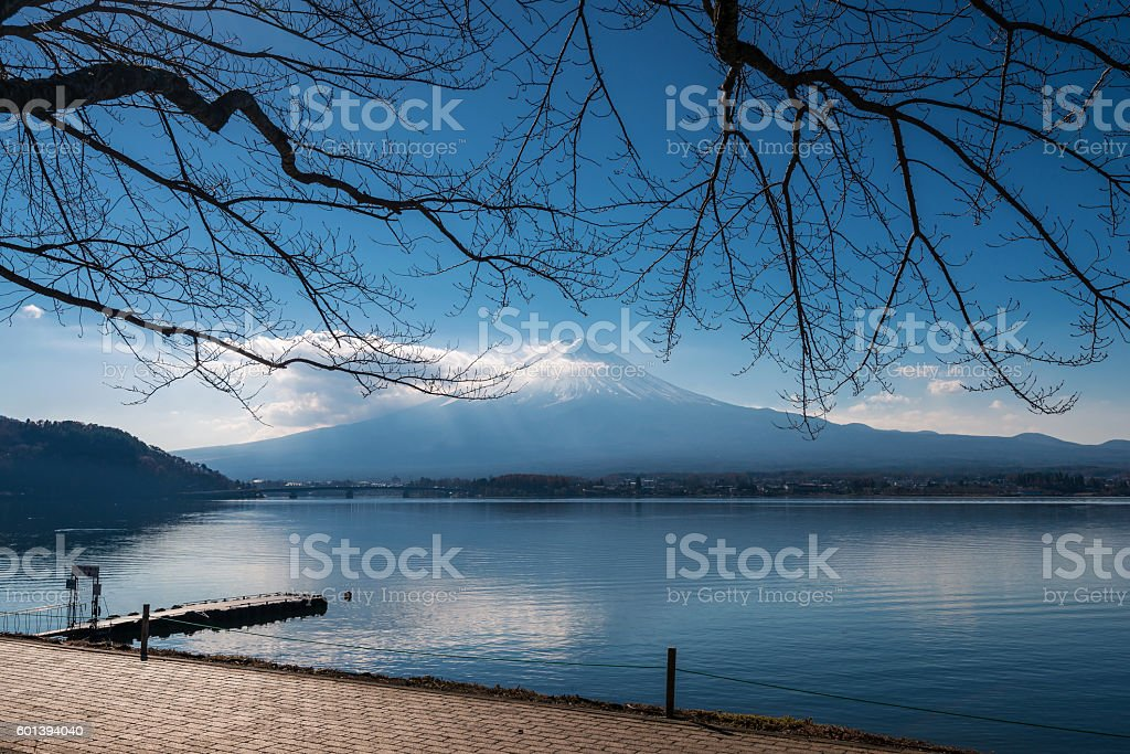 Mt. Fuji in the morning with reflection on the lake stock photo