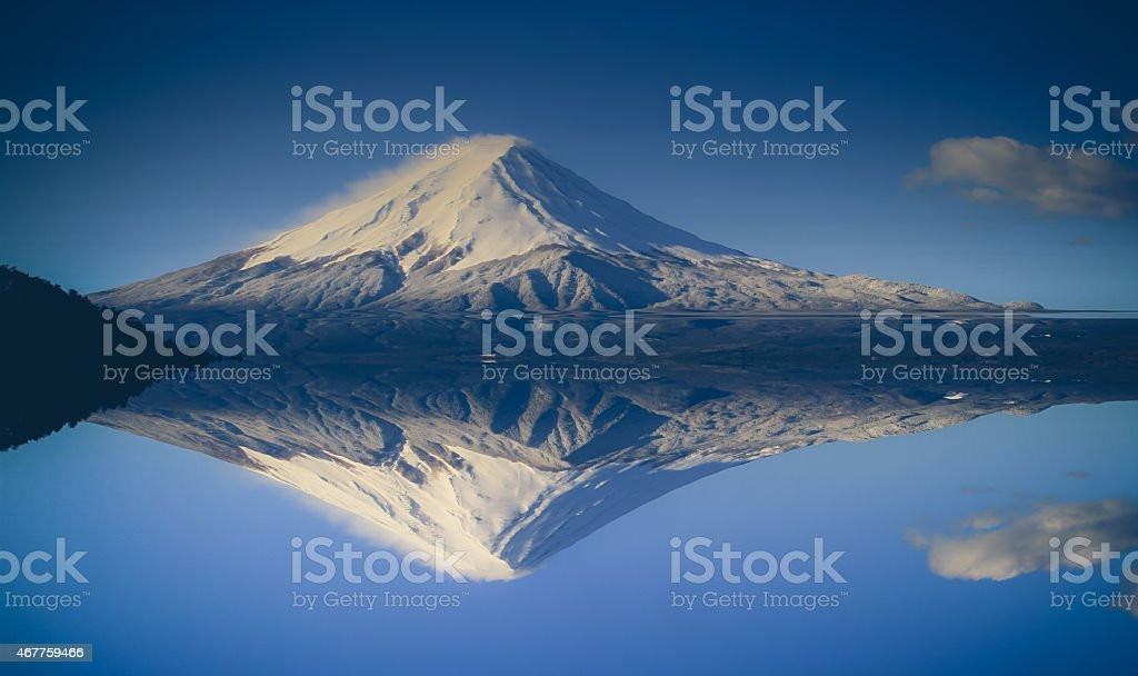 Mt. Fuji, Japan with the reflection on the on water stock photo