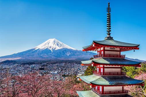 Mt Fuji Snowcapped And The Chureito Pagoda A Fivestoried Pagoda Also Known As The Fujiyoshida Cenotaph Monument Fujiyoshida Japan Stock Photo - Download Image Now
