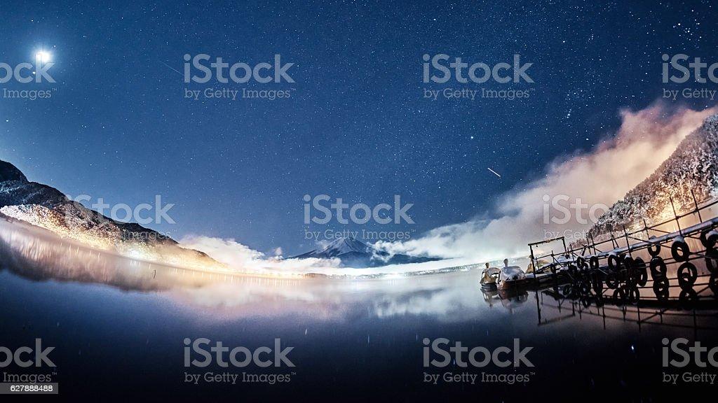 Mt. Fuji under the stars stock photo