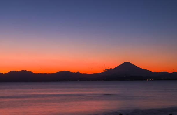 從內島海灘欣賞富士山美景圖像檔