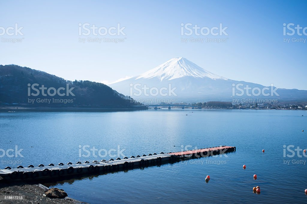 Mt Fuji view from the lake stock photo