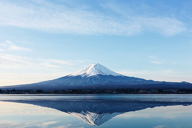 Mt. Fuji with cherry blossom a inverted image of Mt. Fuji lake kawaguchi stock pictures, royalty-free photos & images