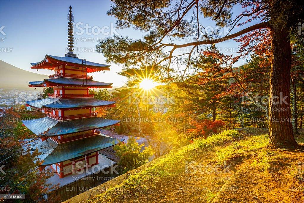 Mt. Fuji with Chureito Pagoda at sunset, Fujiyoshida, Japan stock photo