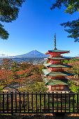 Fujiyoshida, Japan - October 27, 2016 : The Chureito Pagoda, a five-storied pagoda also known as the Fujiyoshida Cenotaph Monument, was built in 1958