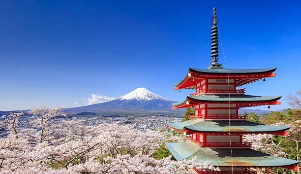 富士山を Chureito 塔、富士吉田市(日本) ストックフォト