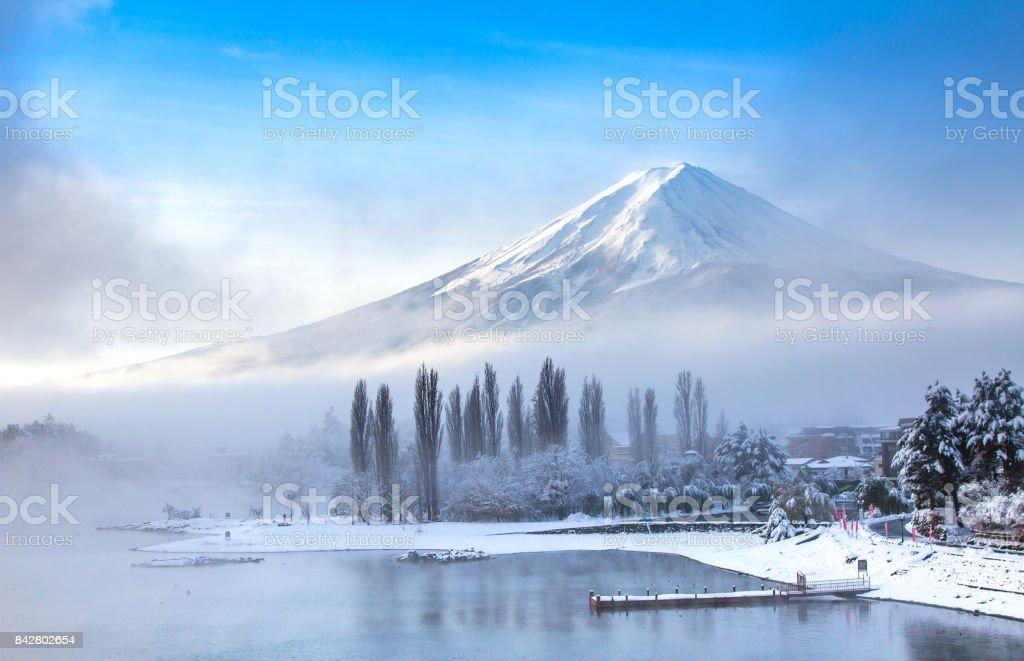 Mt Fuji with snow in winter at lake Kawaguchiko Japan stock photo