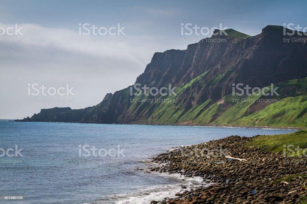 Mt. Gorota Cliffs on Rebun Island, Japan stock photo
