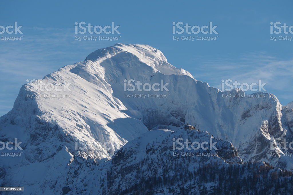 Mt. Hoher Goell and Kehlsteinhaus in winter stock photo
