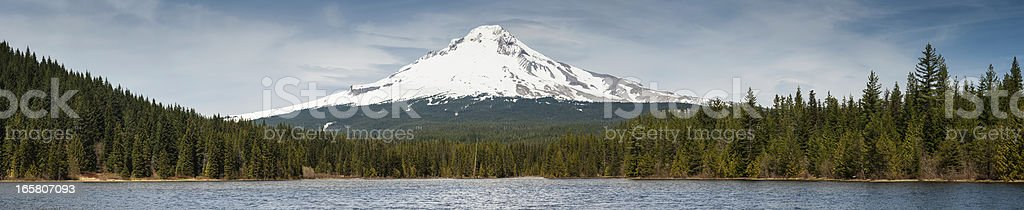 Mt Hood 3429m volcano towering over forest Oregon stock photo