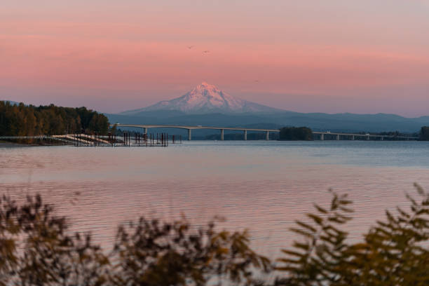 Mt Hood at sunset on the Columbia River, Vancouver Washington stock photo