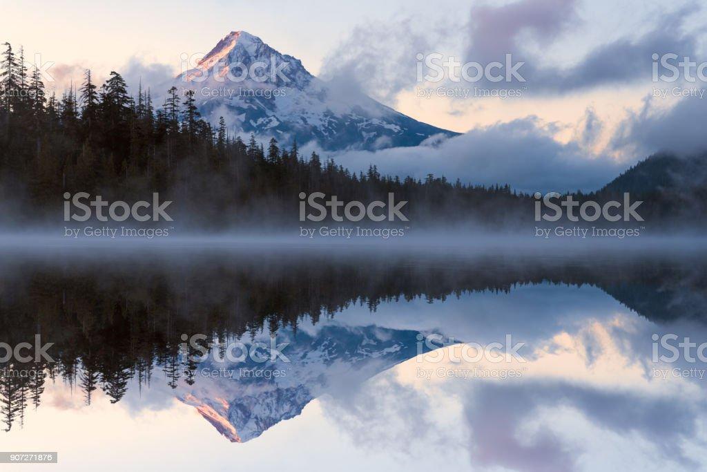 Mt. Hood reflections durring sunrise stock photo