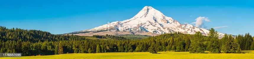 The snow capped volcanic peak of Mount Hood, 3429m, towering over the pine forests and green meadows of Oregon, USA.