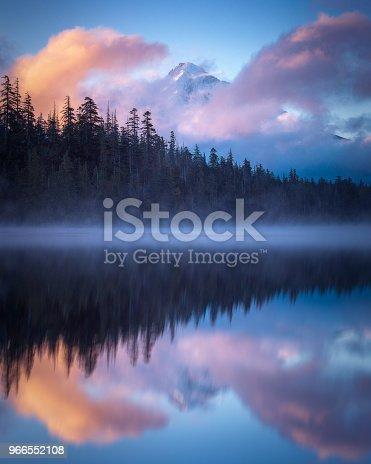 Mt. Hood Sunrise reflecting in Lost Lake, Oregon