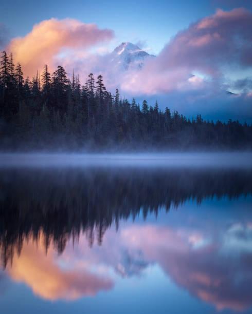 Mt Hood Sunrise over Lost Lake Oregon stock photo