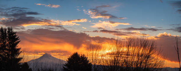 Mt Hood with colorful clouds at winter morning panoramic view stock photo